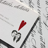 Kristen and Thomas: custom details on oyster whole paper and grey thermo, with red heart and client silhouette image