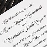 Megan and Christopher: classic wedding suite with black script on white card stock printed in thermography