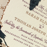 Sarah and Thomas: letterpressed, 2 color, copper and plumb inks