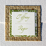 Tiffany and Roger: custom invitation, layered on rattan and patterned cardstock, thermography printed, with pocket folder