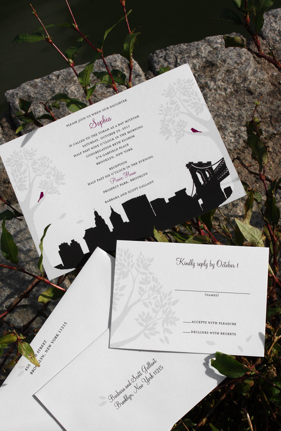 Sophia: Montague St. - Apt. B, Bat Mitzvah invitation suite digitally printed in black, eggplant and nickel with soft white envelopes