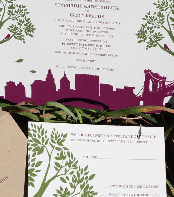 Stephanie and Casey: Montague St. - Apt. B, digitally printed in moss and eggplant with paper bag envelopes