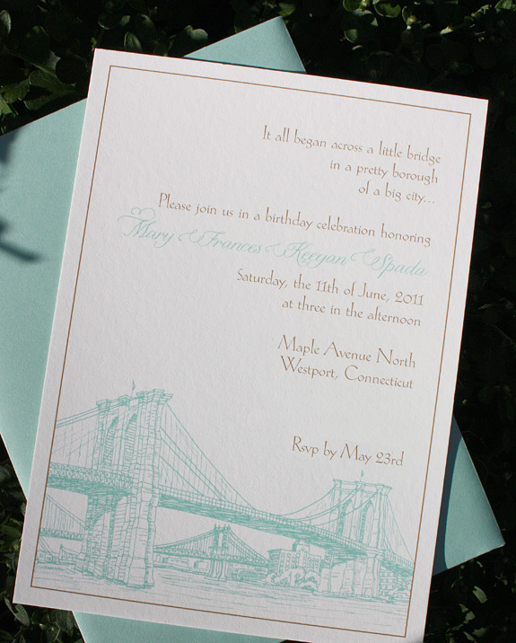 Mary: Seaport, invitation digitally printed in custom colors (tiffany blue and copper), with pool envelope