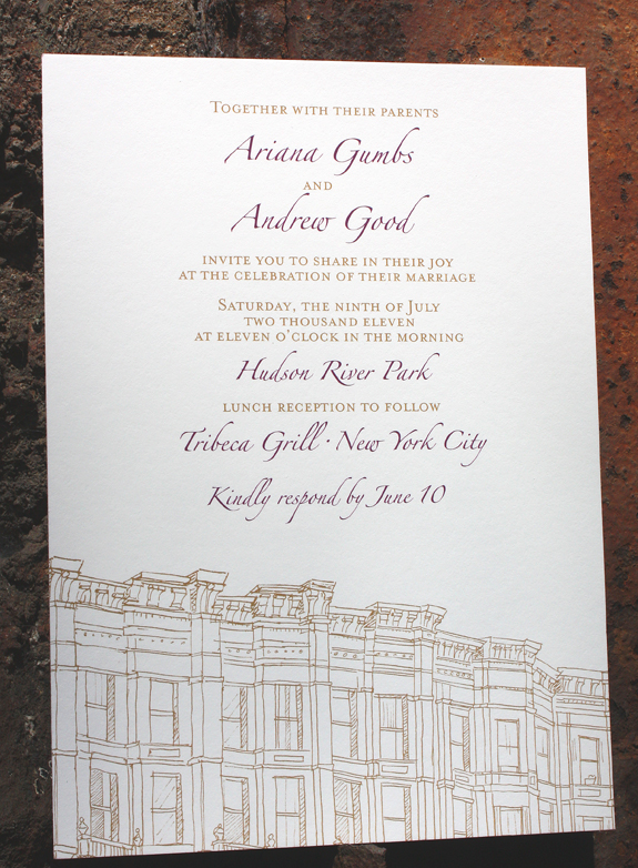 Ariana and Andrew: Third Street, digitally printed in eggplant and gold ink