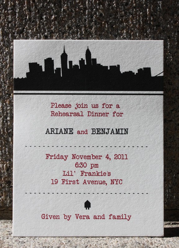Ariane and Benjamin: Riverside Drive, rehearsal dinner card digitally printed in black and cranberry inks