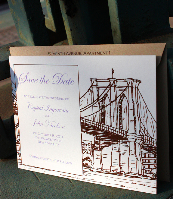 Crystal and John: Seaport, digitally printed save the date in lavender and espresso inks