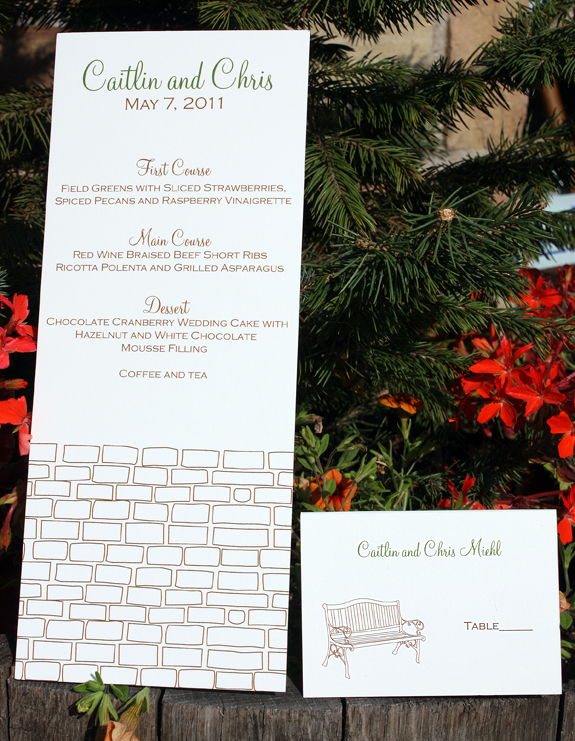 Caitlin and Christopher: York Street, menu, placecard in espresso and moss inks