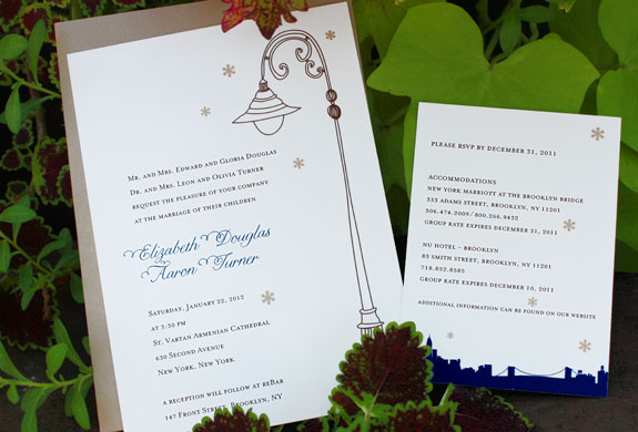 Elizabeth and Aaron: York Street invitation, Riverside Drive enclosure card, printed in royal, navy, espresso and copper inks with paper bag envelope