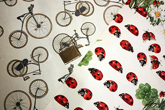 "What says ""spring"" like bikes and ladybugs?  Here in single wrap sheets"