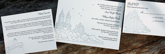 Anne and William:  San Remo and York Street, letterpress printed in charcoal and light blue inks with white envelopes