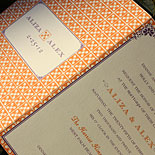 Aliza and Alex: Pattern-driven digital trifold invitation with tear-off rsvp card printed in pumpkin and eggplant inks on white card, featuring mixed typestyles and vintage inspired border and motifs