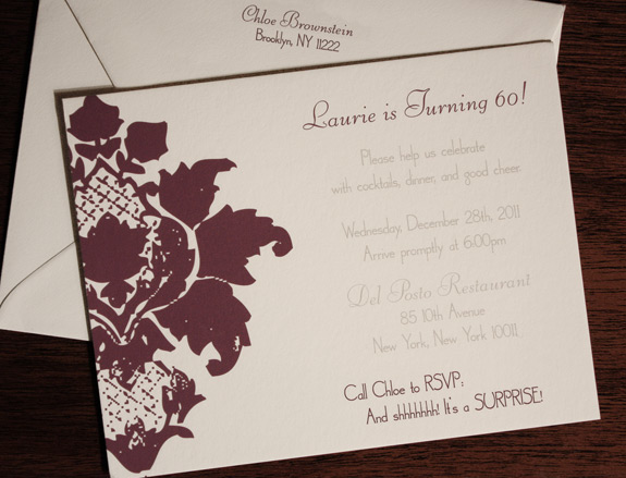 Laurie: Clinton Hill party invitation digitally printed in eggplant and pewter