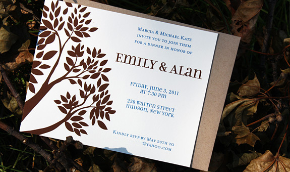 Emily and Alan: Montague Street - Apt. B, digitally printed invitation in espresso and royal inks on with paper bag envelope.