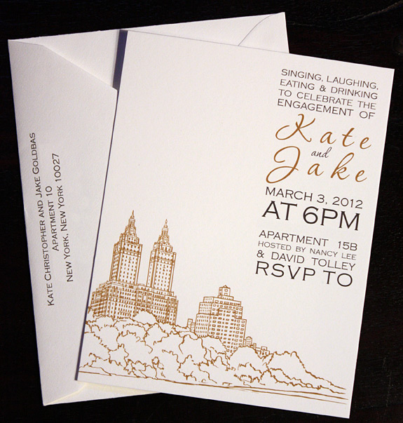 Kate and Jake:  San Remo, Save the Date digitally printed in copper and charcoal with envelopes to match