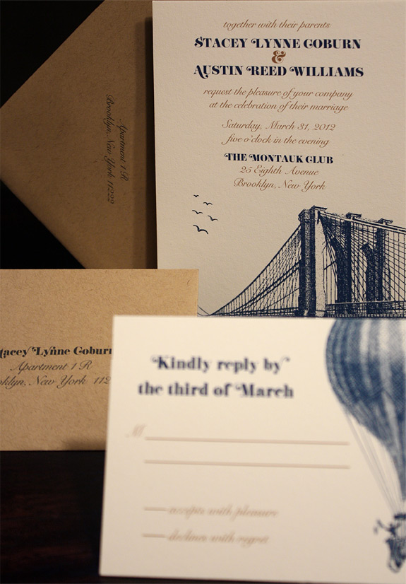 Stacey and Austin: Vinegar Hill digitally printed in navy and copper inks with paper bag envelopes