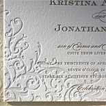 Kristina and Jonathan: letterpress printed with flourish pattern pocket and printed belly bands