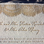 Mais and Ziad: custom vintage lace design on handmade paper letterpressed in toast