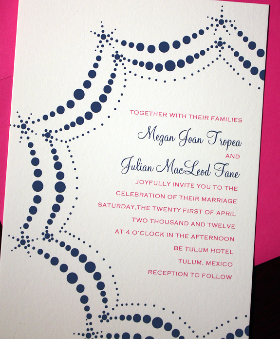 Megan and Julian: Boerum Hill, digitally printed in magenta and navy with fuchsia envelope