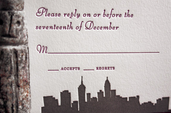 Julia and Andreas: Riverside Drive,  reply card detail