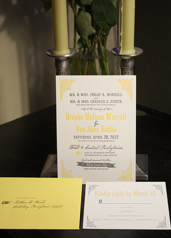 Brooke and Van: Washington Square, letterpress printed invitation in Squash and Charcoal with digitally printed replay card and sunshine envelope