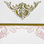 Amanda and Raymond: wedding invitation suite printed in gold and rose inks on pearl white paper, invitation mounted on gold back backer