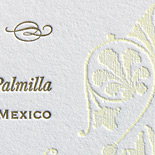 Analucia and Julian: Gold and linen inks letterpresses on bright white paper