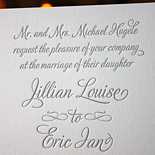 Jillian and Eric: Letterpress printed in script font