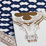 Michael and James: custom designed invitation and envelope liner depicting motifs of The Montauk Club in Park Slope, Brooklyn