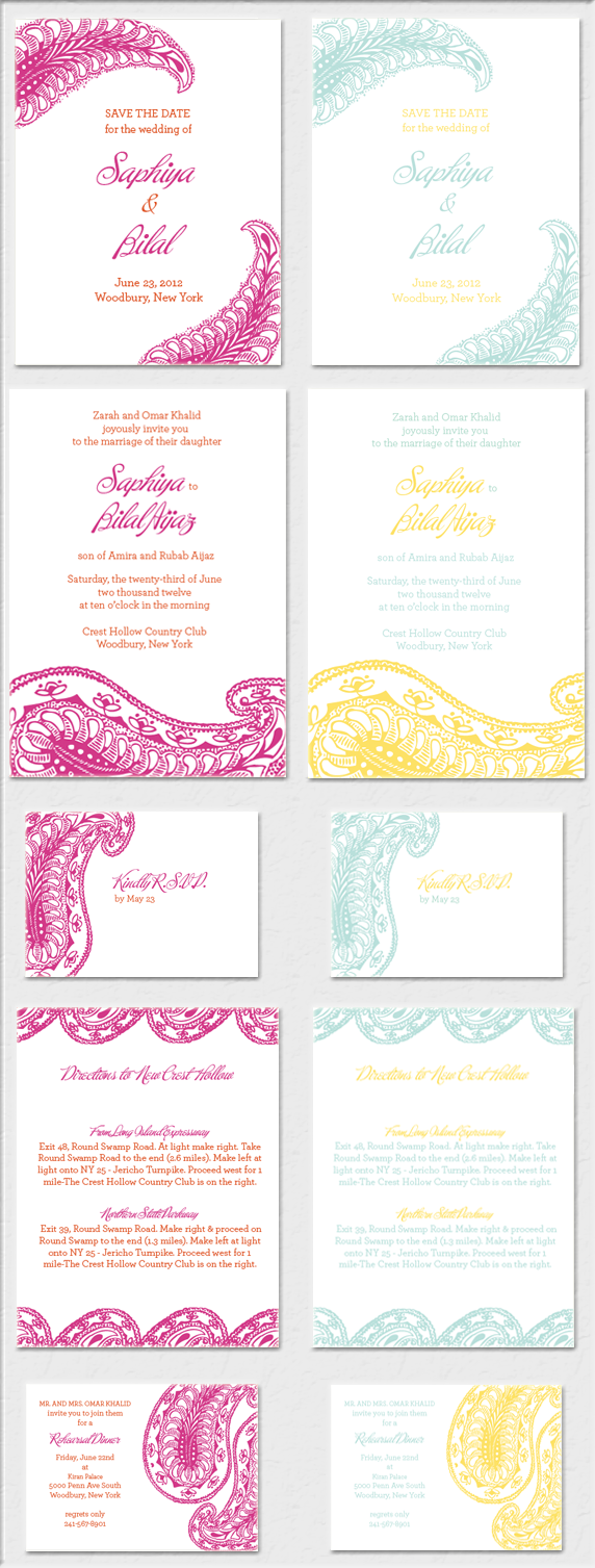 Park Avenue Paisley Wedding Invitation magenta, persimmon, yellow, squash, turquoise, indian inspired, bohemian