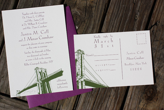 Jantra and J. Mercer: Front Street, digitally printed in moss and eggplant with beet envelopes