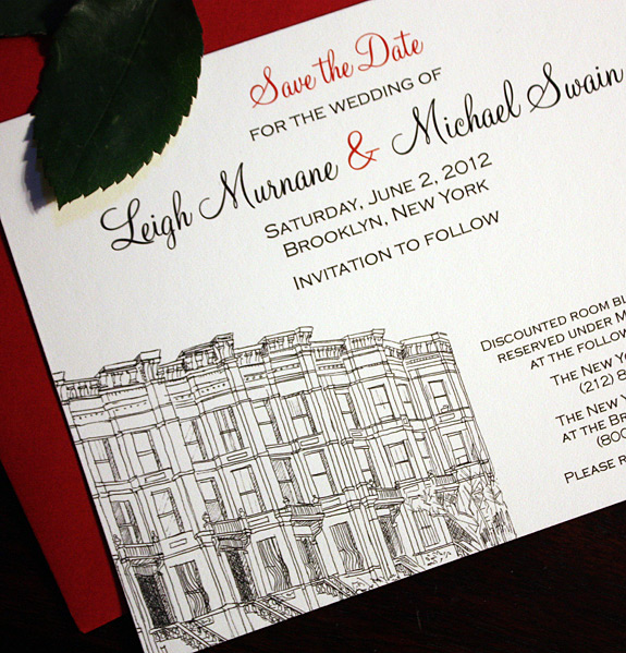 Leigh and Michael: Third Street, save the date digitally printed in black and cranberry inks with red envelope