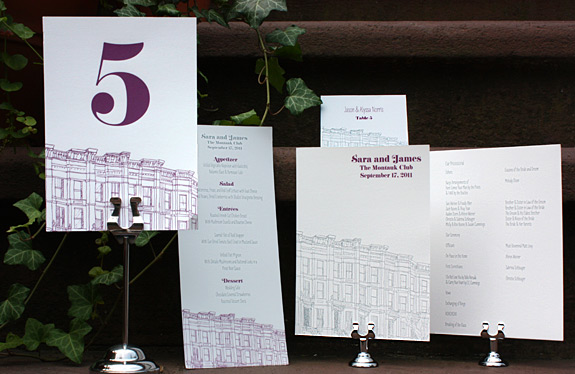 Sara and James: Third Street, program, menu, place card and table number, digitally printed in eggplant and pewter