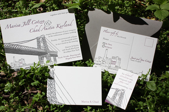 Marisa and Chad: Bedford, both letterpress and digitally printed in charcoal and eggplant inks with gravel envelopes