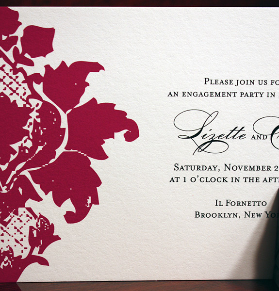 Lizette and Erik: Clinton Hill, engagement party invitation