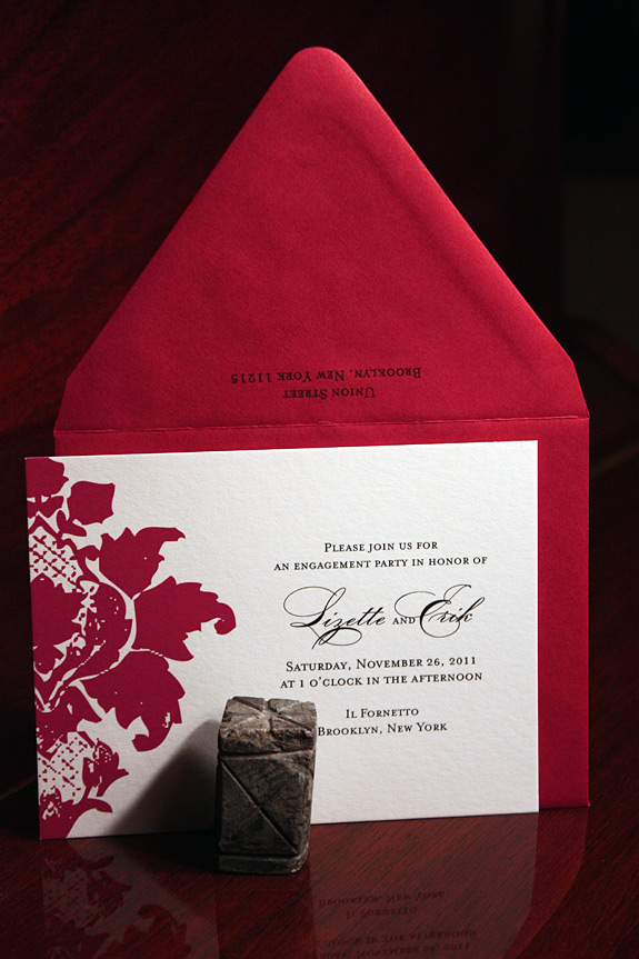 Lizette and Erik: Clinton Hill, engagement party invitation, digitally printed in cranberry and black with red envelope