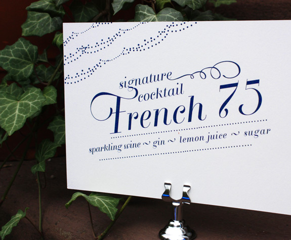Gabrielle and James: Brooklyn Fête, signature cocktail sign