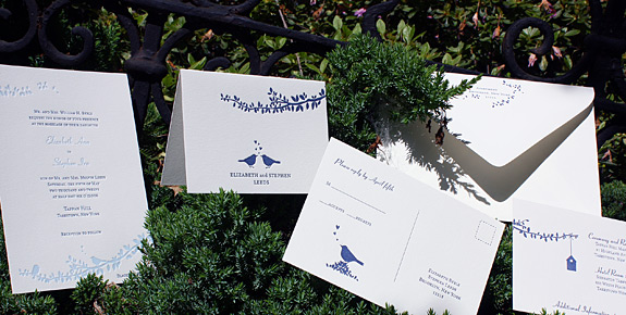 Elizabeth and Stephen: Gramercy Park, letterpress printed in navy and light blue with custom liner