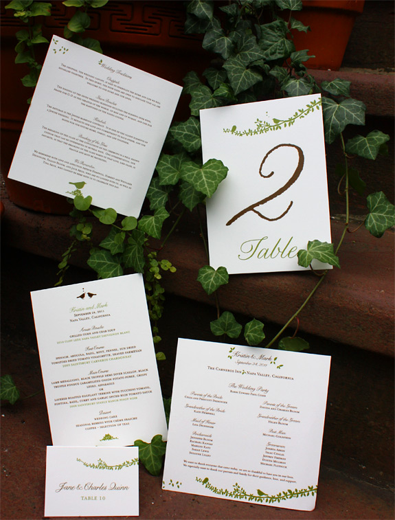 Kristen and Mark: Gramercy Park, program, menu, place card, table number digitally printed in espresso and willow
