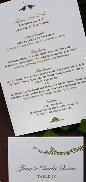Kristen and Mark: menu and place card