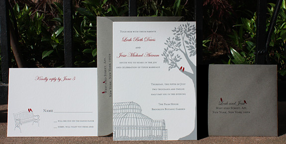 Leah and Jesse: Palm House, Montague Street, York Street,digitally printed in cranberry and pewter, shown with gravel envelopes