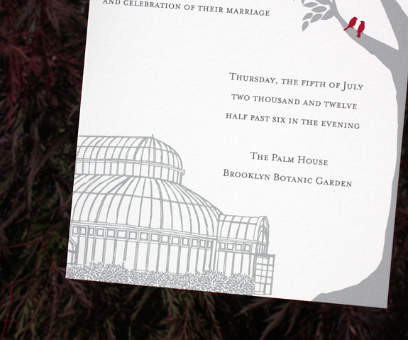 Leah and Jesse: Palm House, Montague Street, York Street,digitally printed in cranberry and pewter, shown with gravel envelopes. Illustration by Mallory Larsen at Fierce Mally.
