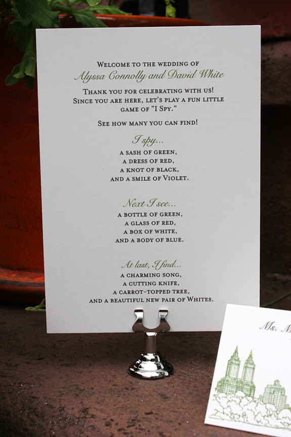 "Alyssa and David: back of menu with ""I spy"" game and place card"