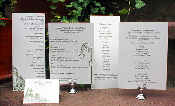 Alyssa and David: San Remo and York Street, program, menu, and place card digitally printed in moss and black