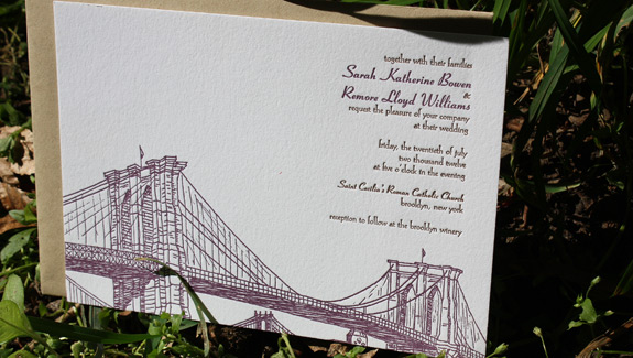 Sarah and Remore: Seaport, letterpress printed in espresso and eggplant with paper bag envelope