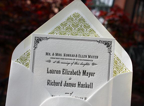 Lauren and Richard: Washington Square {custom}, letterpress printed in black ink with patterned liner