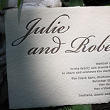 Julie and Robert: typewriter font letterpressed on 4-deckled handmade paper