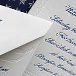 Gillian and William: hand calligraphy lettepressed in navy ink, blind letterpressed rope and star details, digital nautical star liner