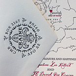 Jacqueline and David: letterpress invitation with custom illustrated map of Ireland and enclosure card with Isle of Man logo and envelope with liner