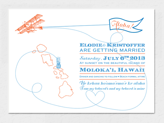 Come Fly with Me Hawaii Destination Wedding Invitation