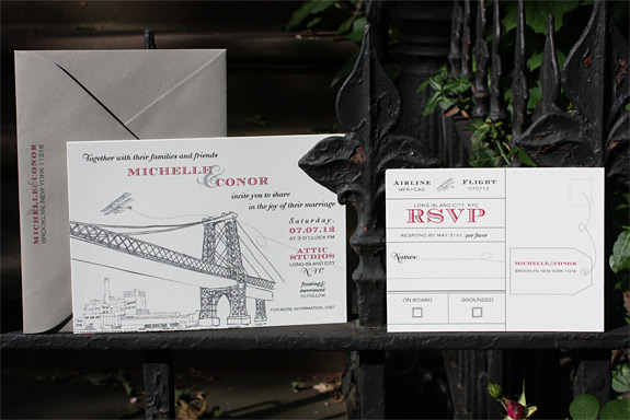 Michelle and Conor: Bedford and Come Fly with Me {custom} digitally printed in cranberry, charcoal, black, pewter inks with gravel envelopes